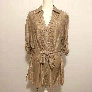 Ashley Stewart gold metallic shimmer belted blouse
